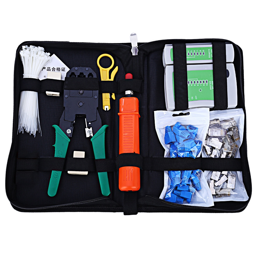 9 in 1 Network Tool Kit Ethernet LAN Cable Tester Crimper Repair for RJ45/11/12 Cat5/5e with Connector Accessories