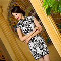 Spring Summer Short Slim Slim Sequin Floral Embroidery Vintage Black Dress Dinner of Chinese Traditional Dress Cheongsam Qipao