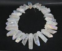 40 pcs / strand alta qualidade do arco-íris branco místico Titanium Quartz pontos vara, Cristais brutos pedras de Spike pingentes 8-10x24-45mm