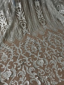 Image 2 - silver Glued glitter Tulle Lace Fabric Embroidered Tulle Fabric JIANXI.C 52826 With glitter