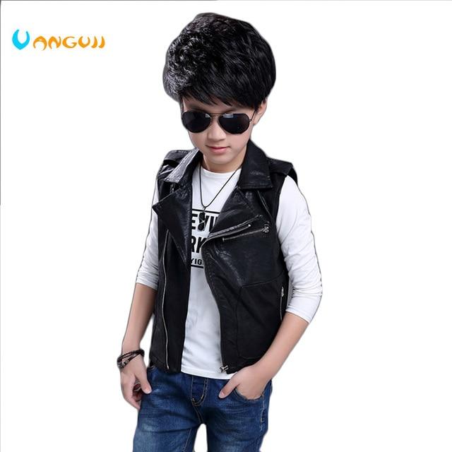Trai pu vest trẻ em của mùa xuân hè quần áo Giả Da rẽ xuống cổ áo Zipper da xe gắn máy quần áo trẻ em outwear