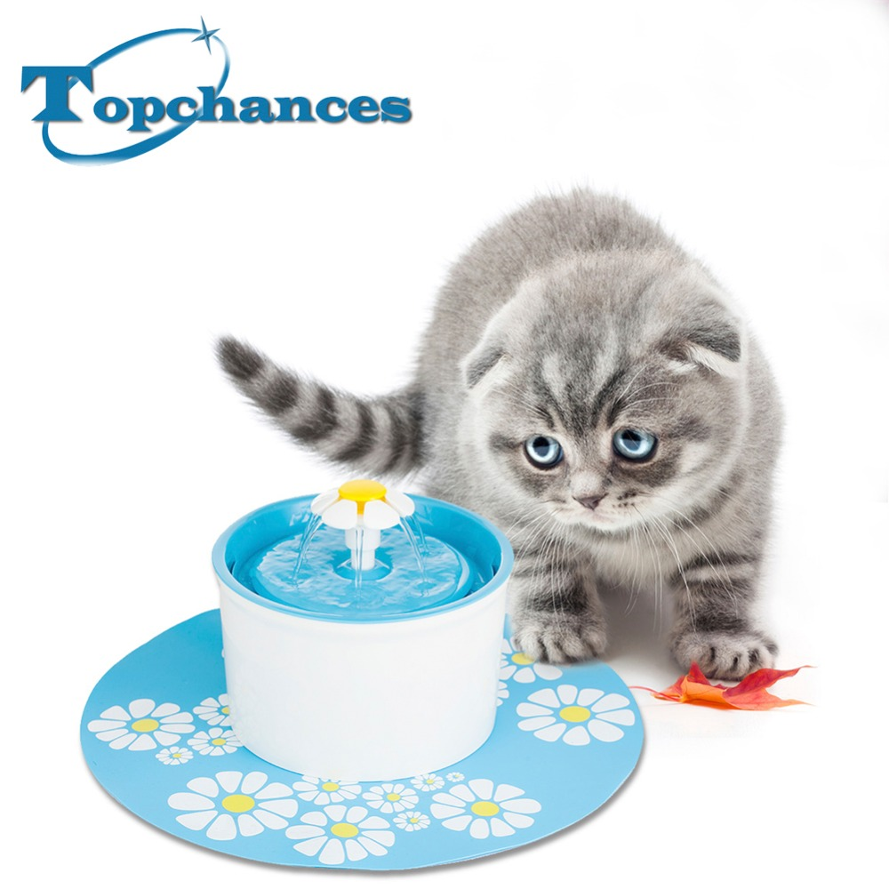 Blue Flower Sytle Automatic Electric 1.6 L Pet Water Fountain Dog/Cat/Bird Drinking Bowl With Corner Fit+ Mat bobo silicone pop up pet dog cat travel food bowl feeder green 350ml