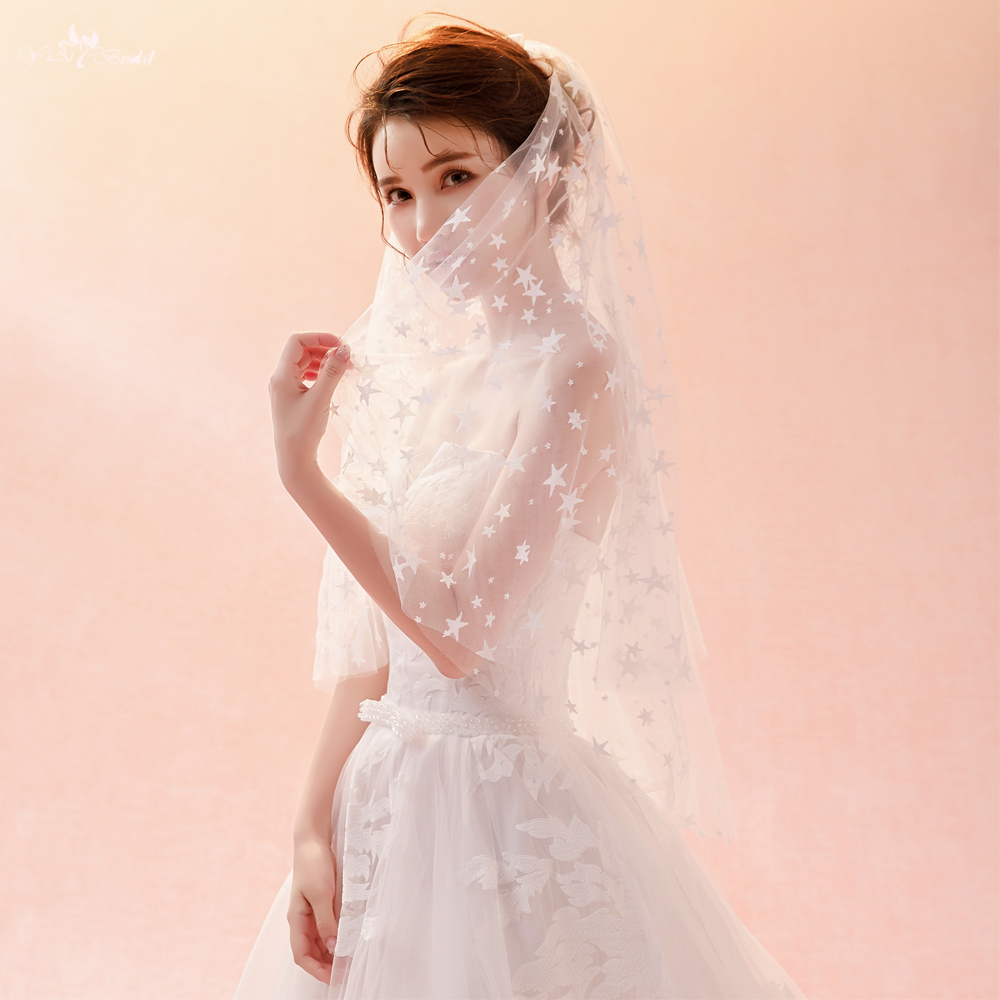 LZP377 Ivory Wedding Veil 1.5 Meters Star Two Layer Tulle ...
