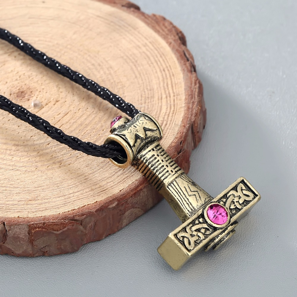 Chengxun vintage necklace svarog hammer silver pendant red zirconia chengxun vintage necklace svarog hammer silver pendant red zirconia slavic charm perun odin zeus black rope chain men collier in pendant necklaces from mozeypictures Gallery