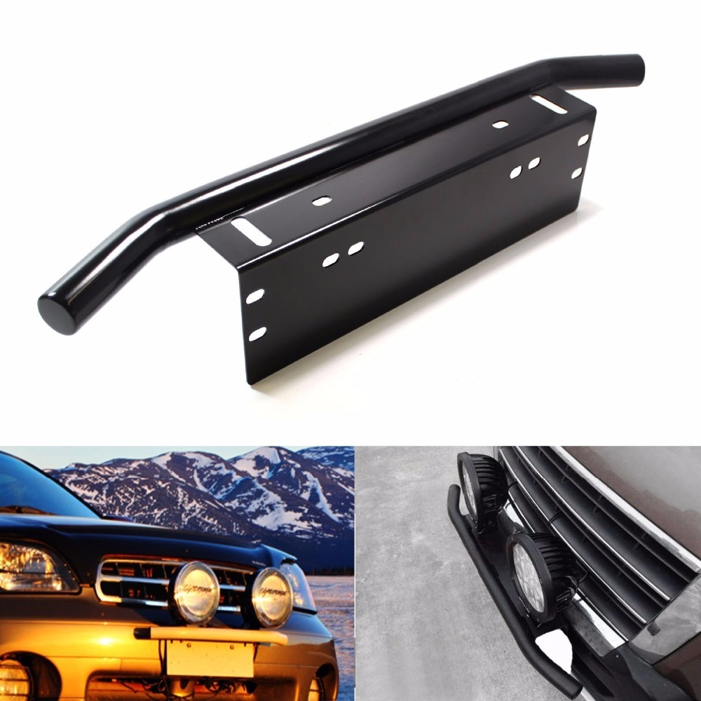 Silver / black Offroad Light / LED Light Bar Autos Bull Bar Front Bumper License Plate Mount Headlight Bracket Holder For Jeep