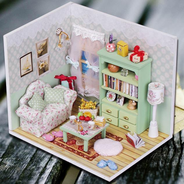 Kits DIY Wood Dollhouse Sofa Miniature With LED+Furniture+cover Magic Gift