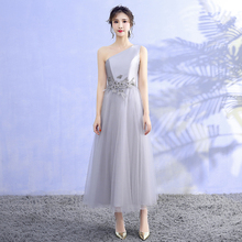 Grey Colour Midi Dress  Wedding Party Dress  Bridesmaid Dresses  Special Occasion One Shoulder grey one shoulder long sleeves midi dress