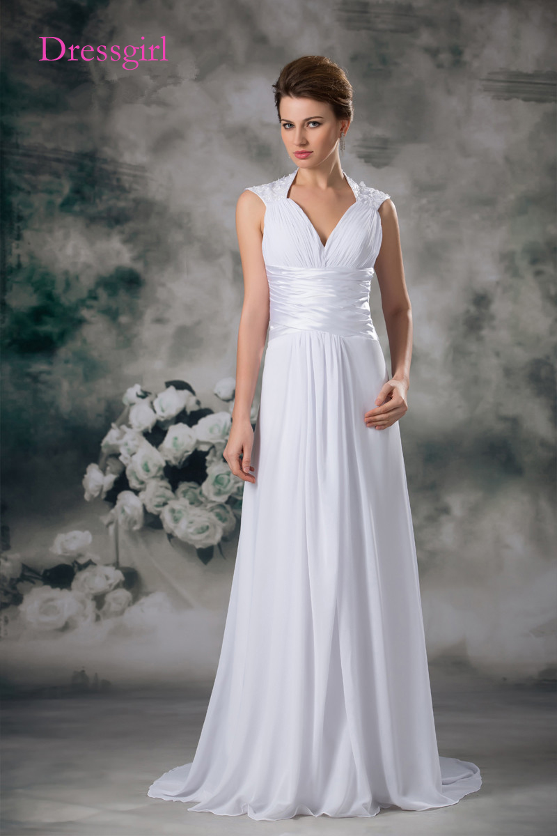 Praia Vestido De Noiva 2017 Vestidos de Casamento A Linha V-neck Cap Mangas Chiffon Lace As Costas Abertas Do Vestido de Casamento Vestidos de Noiva