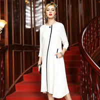 L6HT698 Europe And United States Women Fall Clothes Female Brand Autumn Outfit Pure Color Long Silk