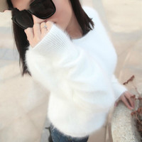 korean fashion the new autumn and winter fashion cashmere sweater knitted mink thin based women's sweater warm female