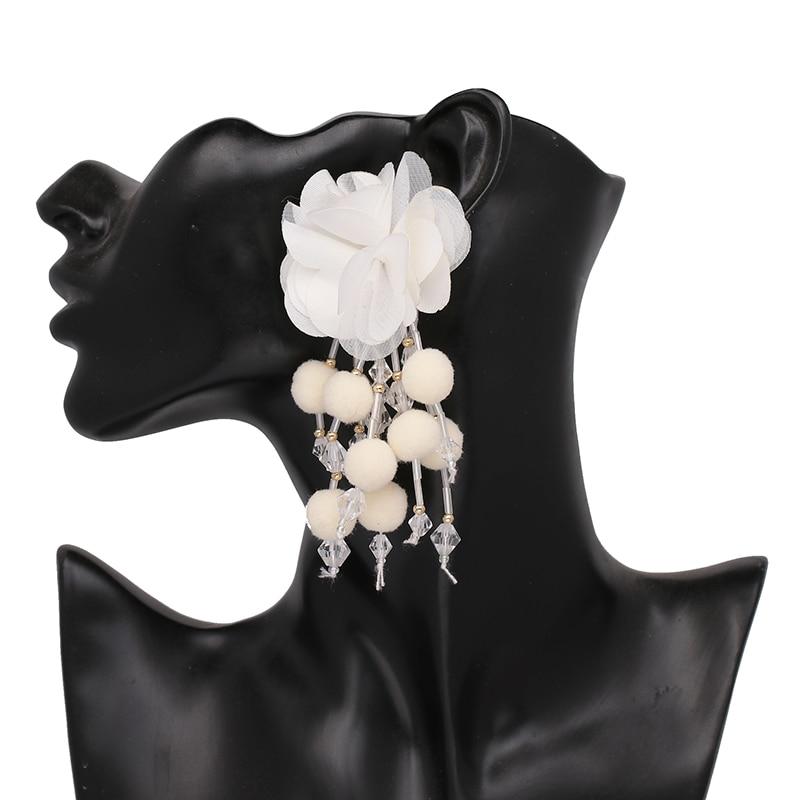 JUJIA Bohemian Long Flower Earrings Pom Pom Big Statement Earrings Fringe Drop Earrings Women Jewelry 11