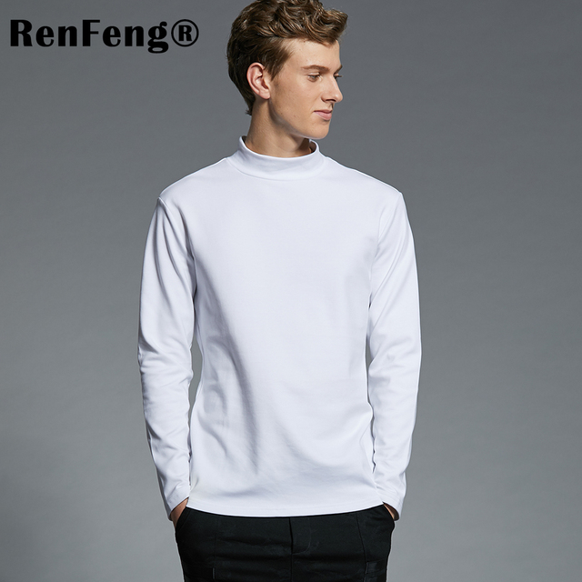 2018 Summer Men s Undershirts Long Sleeve Turtleneck Undershirt Men White  T-Shirt Plus Size Top Tees 95 Cotton Thermal Underwear b4c67630779