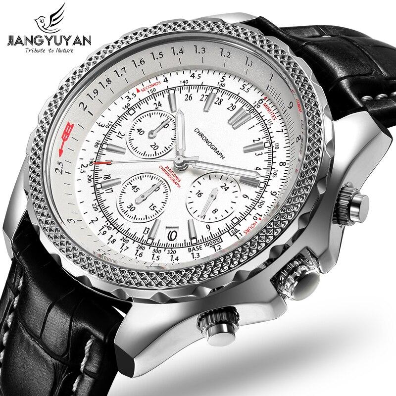 Marca TOP 2019 Séries Terra Multifuncionais Esportes Homens Relógio Cronógrafo 6 Mãos 24 horas Moda Relógio De Couro Genuíno Dos Homens Casuais