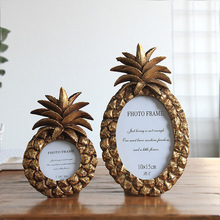 3/6/7 Inch Resin Frames Pineapple Shape Picture Home Ornaments Vintage Golden Silver Color Photo porta retrato