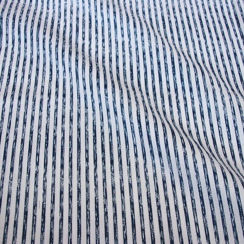 100% cotton twill cloth cartoon white cat dark blue stripe fabric for DIY crib bedding cushions apparel quilting handwork decor