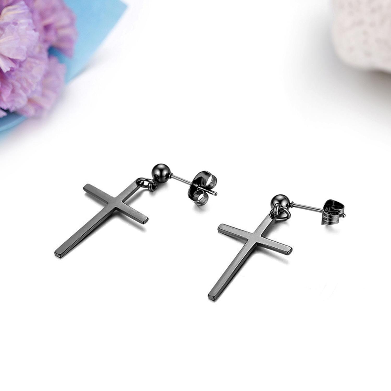 Stainless Steel Budded Cross Stud Earrings pair