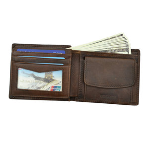 Image 2 - GENODERN Cow Leather Men Wallets with Coin Pocket Vintage Male Purse Function Brown Genuine Leather Men Wallet with Card Holders