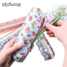 Rectangular Pen Bag Wind Elegant Beauty Simplicity Canvas Lace Floral Pencil Bag Pencil Case 4 Style Can Pick(China)