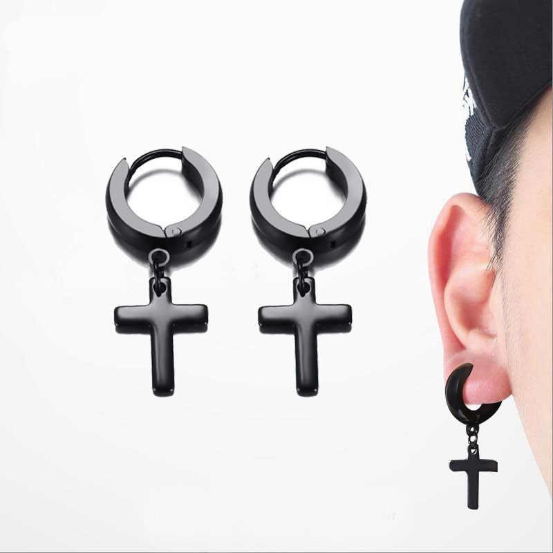 Punk Men Ear Stud Circle Round Cross Huggie Earrings for Men Small Crucifix Cuff Earings Stainless Steel Hip Hop Male Jewelry