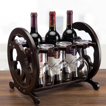 Creative Dolphin  Wine Red Wooden Red Wine Rack Three Bottles Holder