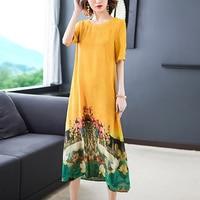 Women Long Dress Silk Maxi Summer Dress Short Sleeve Loose Plus Size O Neck Embroidery Printed Bohemia Holiday Dresses Vestidos