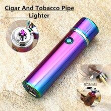 ผู้ชายซิการ์ยูเอสบี Lighter ไฟแช็คไฟฟ้าคู่ชีพจร Arc ท่อยาสูบไฟแช็กกันลมบุหรี่ฟ้าร้องโลหะพลาสม่า Flameless แกดเจ็ต