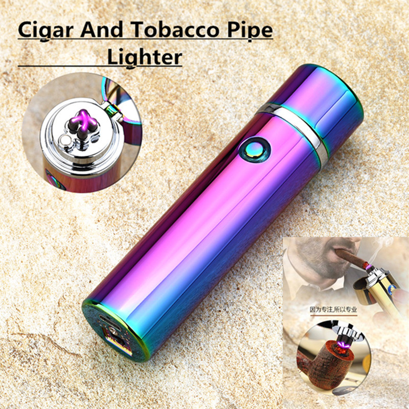 Men Cigar USB Lighter Electric Dual Pulse Arc Tobacco Pipe Lighter Windproof Cigarette Thunder Metal Plasma Flameless Gadgets-in Cigarette Accessories from Home & Garden