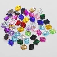 AIWUJIA 100Pcs Mixed Color Nail Art Tips Crystal Glitter Acrylic Rhinestones Fashion Garment Beads Stones DIY