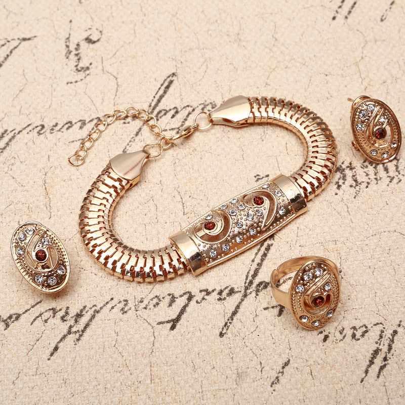 Fashion African Dubai Gold Jewelry Nigerian Crystal Necklace Hoop Earrings Women Italian Bridal Jewelry Sets Wedding Accessories