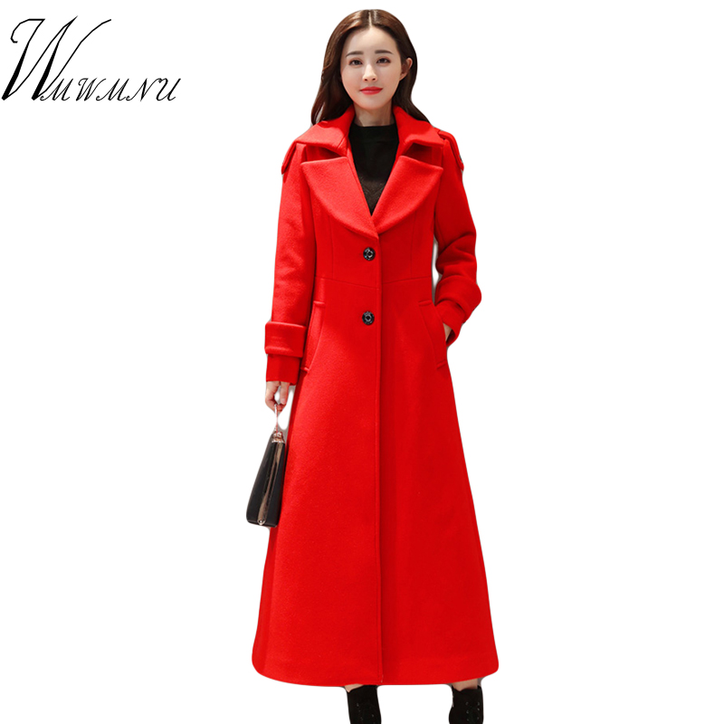 Autumn Winter Single Breasted Long Wool Coat Women Ladies Office Work Cashmere Coat Street Wear Solid