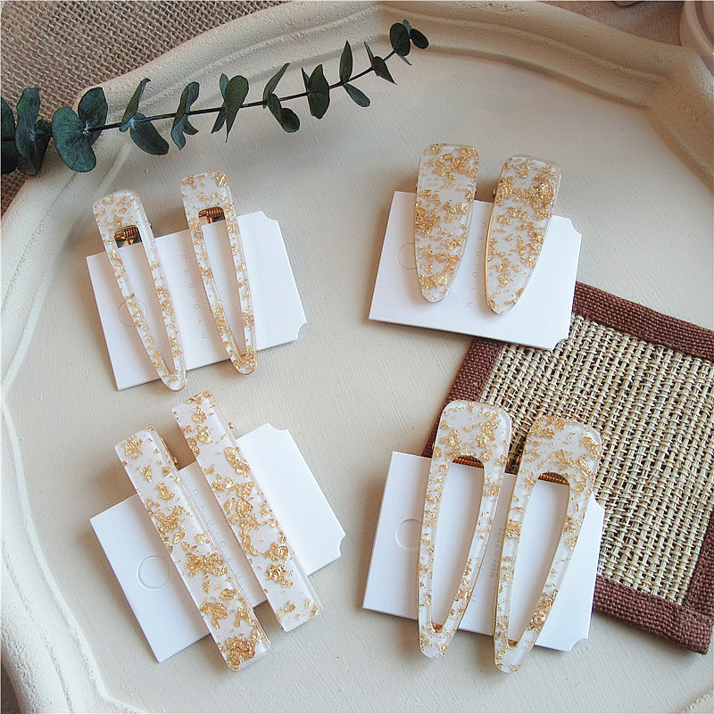 1 Pcs 2019 New Trendy Gold Color Sequins White Acrylic Geometric Hollow Drop Hairpins For Women Vintage Long Rectangle Hair Clip