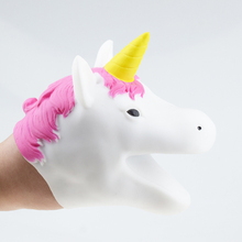 New Soft White Unicorn TPR Green Plastic Horse Hand Gloves Toy Story Doll Props Funny Kids Toys Christmas Gift