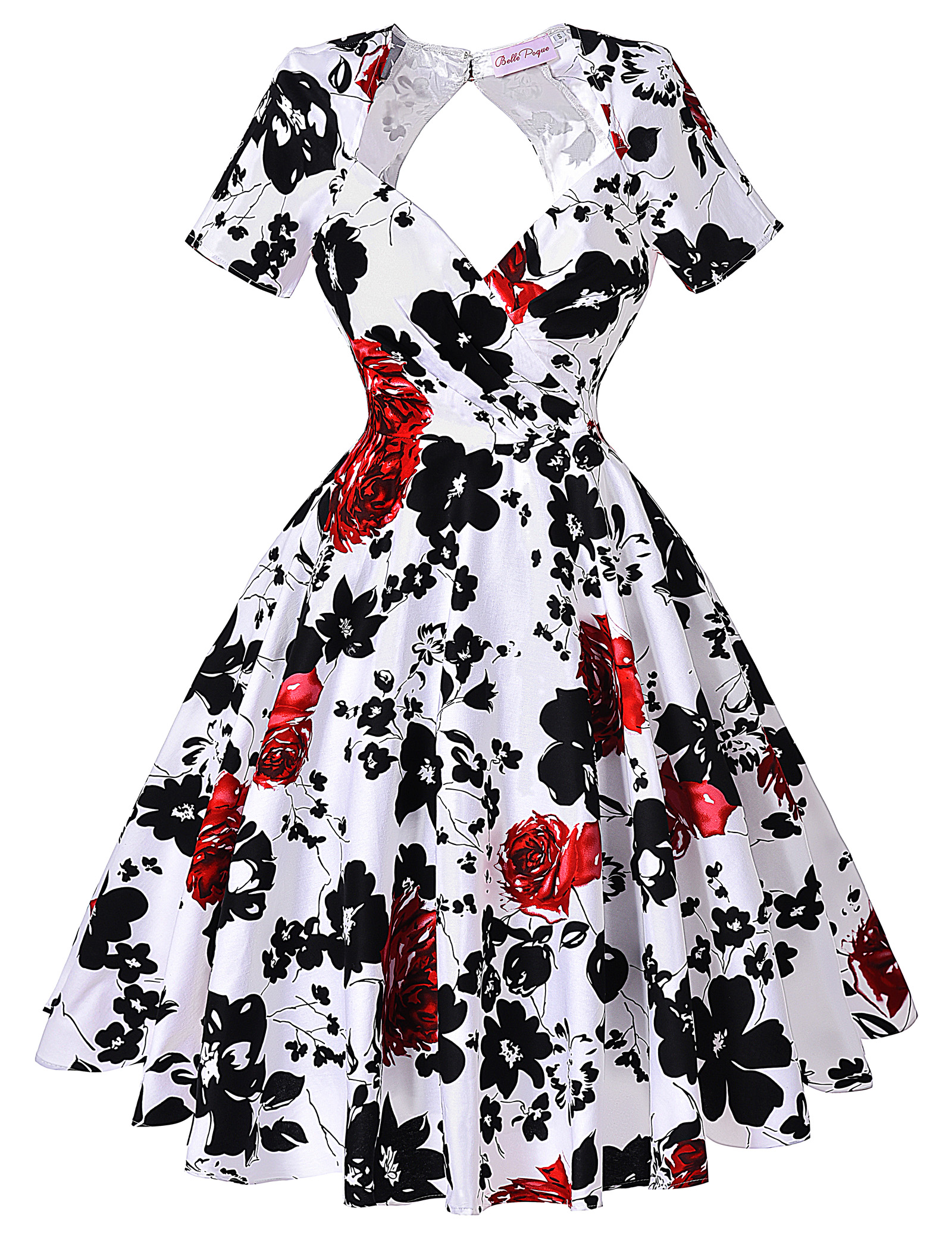 Vintage 50s 60s Short Sleeve Evening Cotton Party Picnic Swing Short Dress Gown