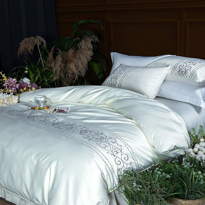 (4)  White silver cotton imitate silk luxurious Bedding Set queen king measurement mattress set Bedsheets linen Europe embroidery Quilt cowl set HTB13Fadpb1YBuNjSszhq6AUsFXa7
