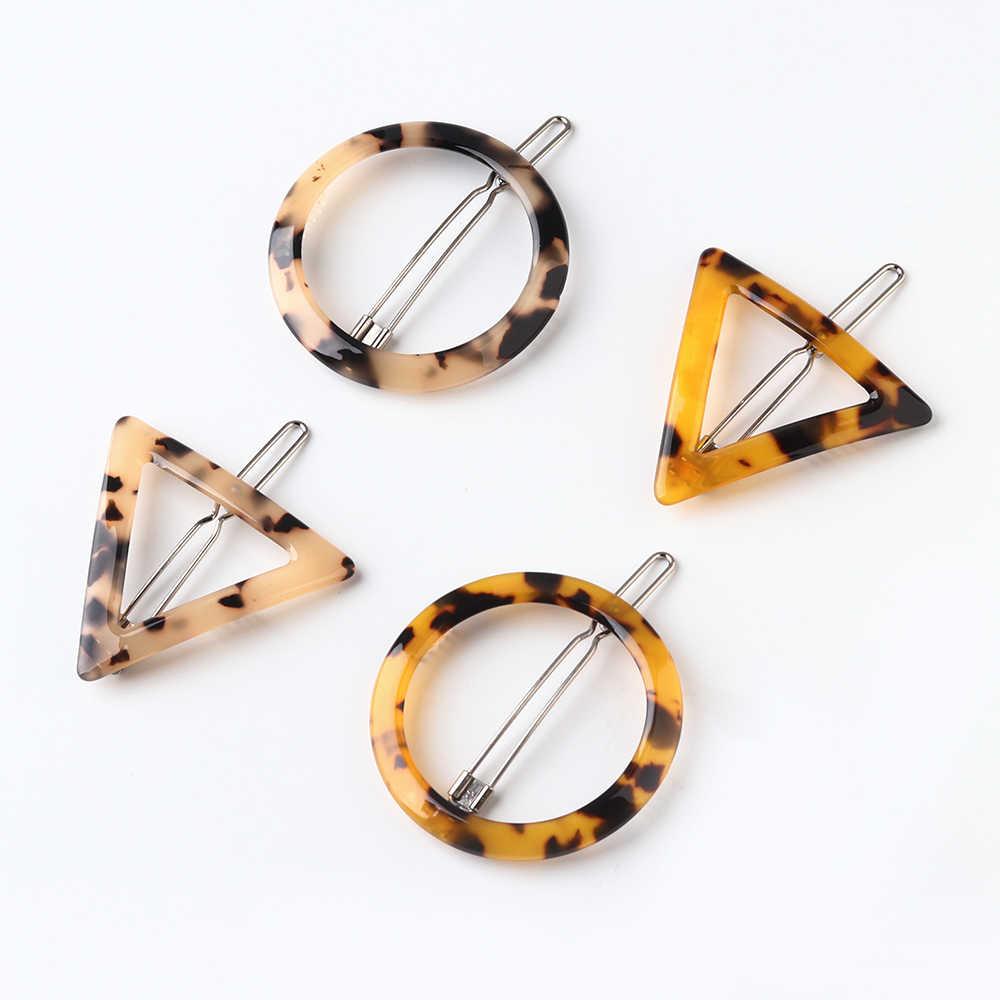 Nowa moda japonia styl akrylowe spinki do włosów geometryczne okrągłe trójkąt spinki do włosów Leopard w kształcie serca kobiety Barrettes spinki do włosów biżuteria