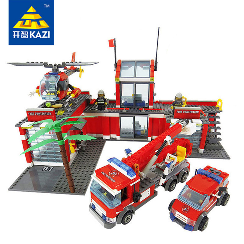 Fire Department Building Bricks Blocks with Red Helicopter and Cars Gift Toys for Children Compatible With City Kazi 8051 kazi city rescue model ambulance corps bricks brinquedos intelligence develop toys for children 6 ages 199pcs 85010