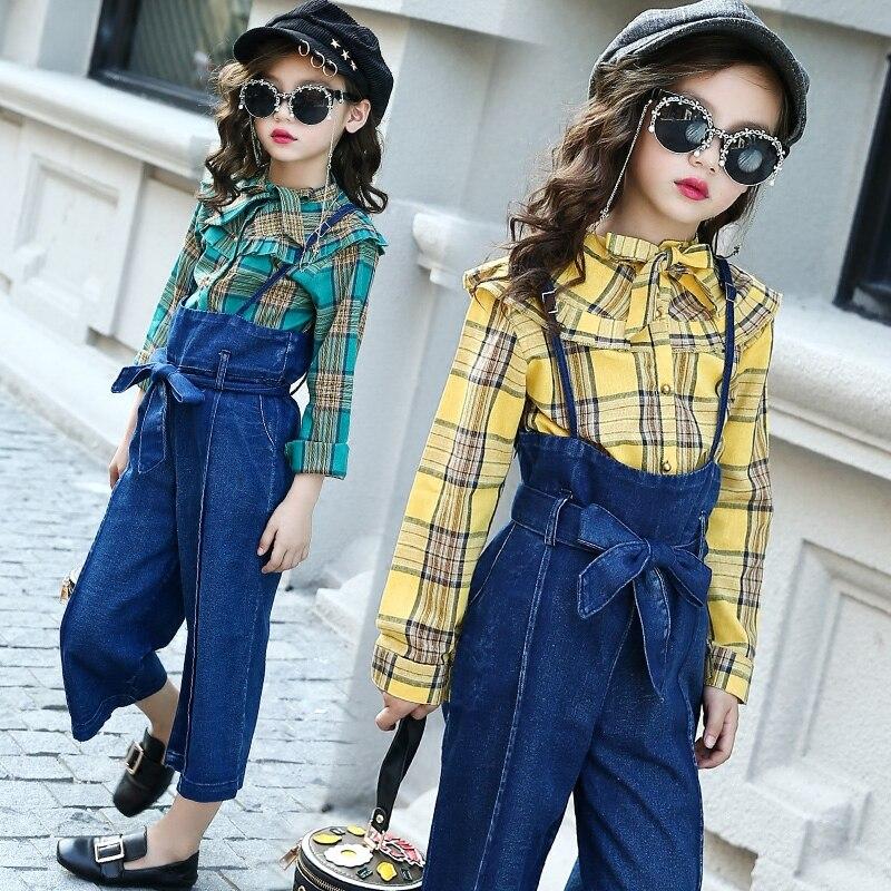 New Girls Sets Autumn Baby Girls Clothes Plaid Blouses & Shirts + Denim Jumpsuits 2 Pcs Sets Suits Children Girls Clothing Sets