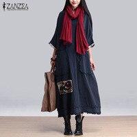 ZANZEA Women Vintage Elegant Dress 2016 Spring Splice O Neck 3 4 Sleeve Pockets Casual Loose