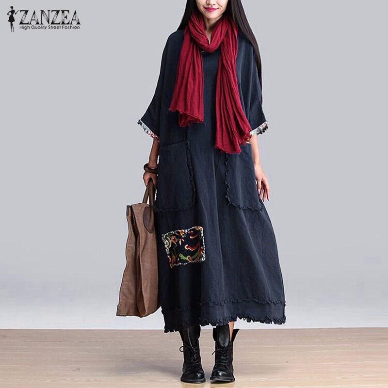 ZANZEA Vestido Elegante de La Vendimia 2018 Primavera Splice O Cuello 3/4 Bolsillos de la manga Casual Loose Solid Maxi Largos Vestidos de Gran Tamaño