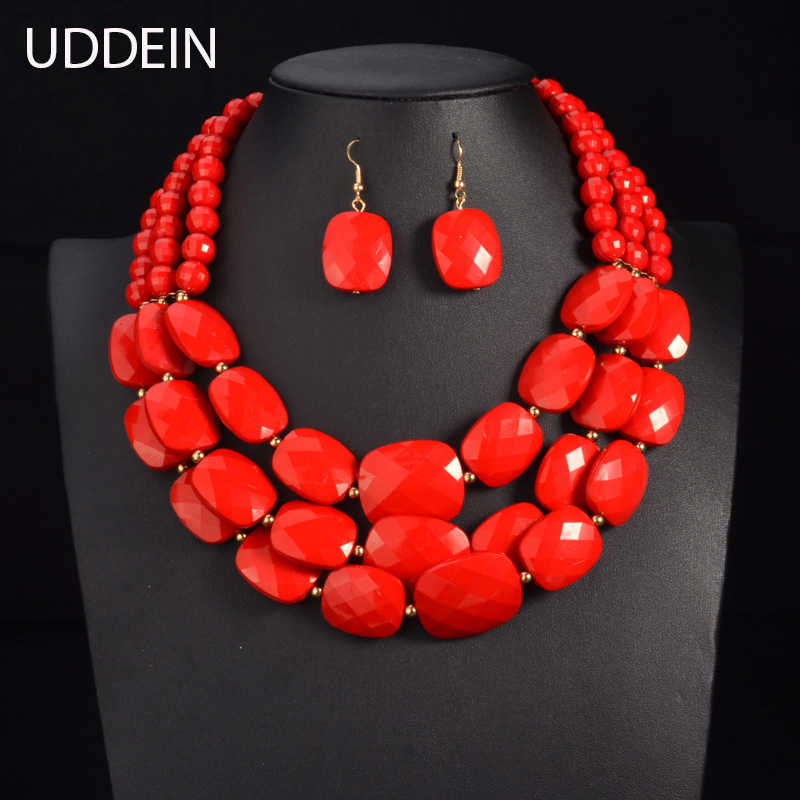 UDDEIN Color African Beads Jewelry Sets Multi layer Beads Indian Jewelry Sets Luxury Statement Choker Necklace Fashion Jewellery