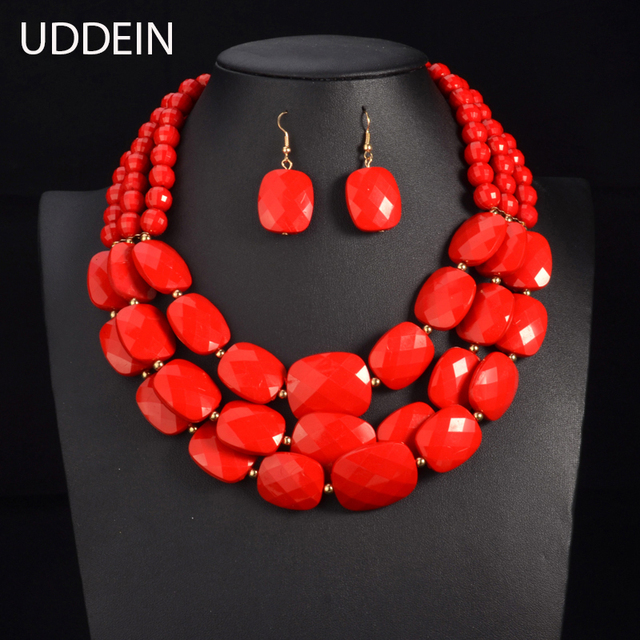 UDDEIN Farbe Afrikanische Perlen Schmuck Sets Multi schicht Perlen Indischen Schmuck Sets Luxus Erklärung Choker Halskette Modeschmuck