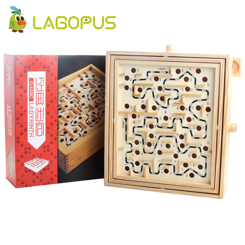 Lagopus Maze Board Labyrinth Board Wooden Toys With Rotate button Steel ball Children Educational Toys цена