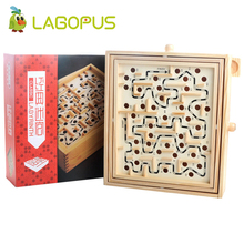 Lagopus Maze Board Labyrinth Wooden Toys With Rotate button Steel ball Children Educational