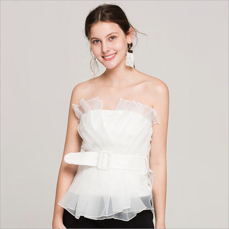 Nouveauté femmes réservoir couleur blanche organza froncé slash sans manches mode bref casual doux top bureau style hauts pour dames