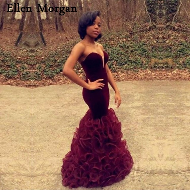 22b2bd1787e2 African Black Girls Burgundy Velvet Mermaid Prom Dresses 2019 Organza Sexy  Vestido De Festa for Party Gowns Pageant Women