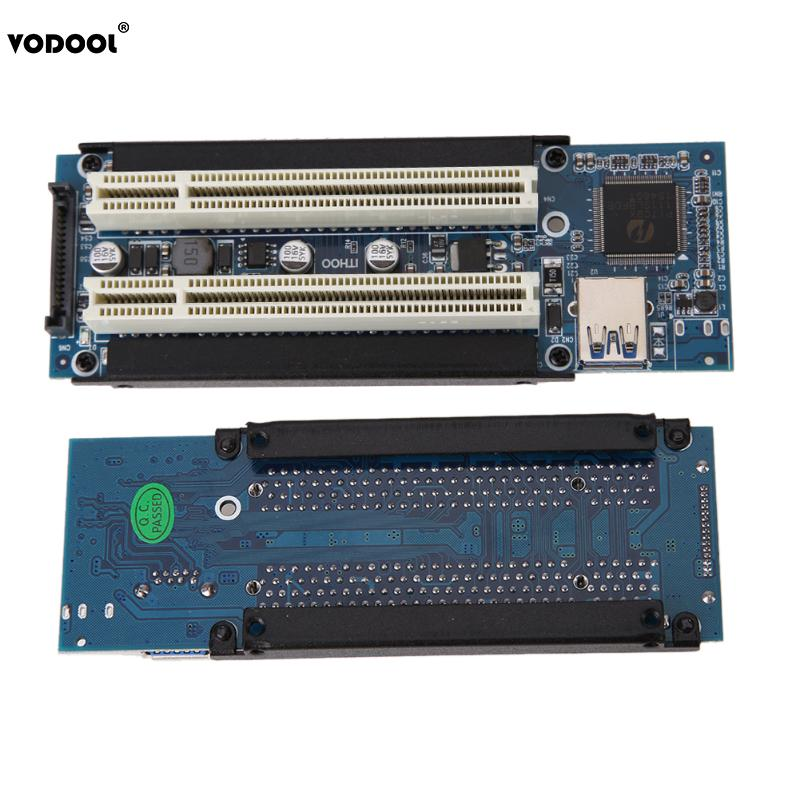 VODOOL PCI-E Express X1 to Dual PCI Riser Extend Adapter Card with 1M USB3.0 Cable for WIN2000/XP/Vista/Win7/Win8/LINUX universal msata mini ssd to 2 5 inch sata 22 pin converter adapter card for windows2000 xp 7 8 10 vista linux mac 10 os new