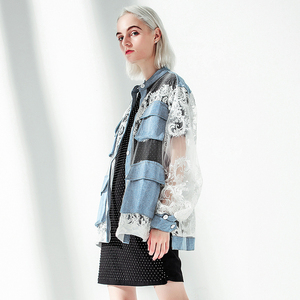 Image 4 - [EAM] 2020 New Spring Autumn Stand Collar Long Sleeve Blue Denim Lace Split Joint Big Size Jacket Women Coat Fashion Tide JU301