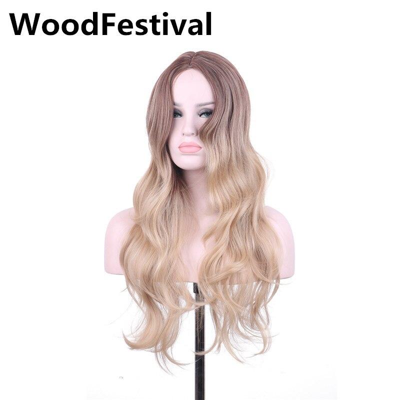 2019 Mode Woodfestival Ombre Grau Perücke Cosplay Perücke Lange Perücken Für Frauen Blonde Braun Hitzebeständige Perücken Synthetische Haar Lockig Attraktiv Und Langlebig