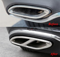 Stainless Steel Rear Dual Exhaust End Pipe Sticker Cover Trim For Mercedes E Class W213 E200 E250 E300 E350 2016 2017