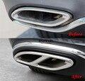 Traseira Em Aço inoxidável Duplo tubo de Escape Final Adesivo Da Tampa Da Guarnição para Mercedes Classe E E200 E250 E300 E350 W213 2016 2017